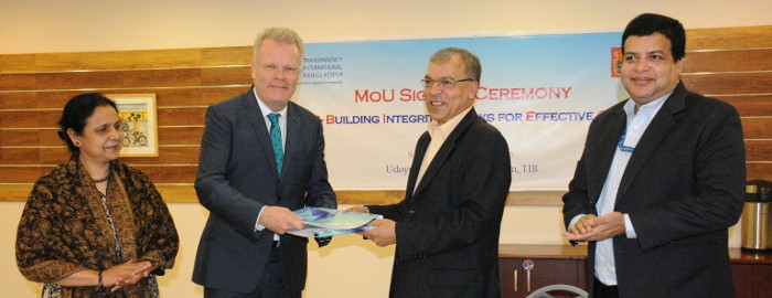 The MoU was signed by Ambassador Winther and Dr. Iftekharuzzaman, Executive Director of TIB. Senior officials of the Embassy of Denmark (EOD) and TIB were present at a simple ceremony held at TIB head office.